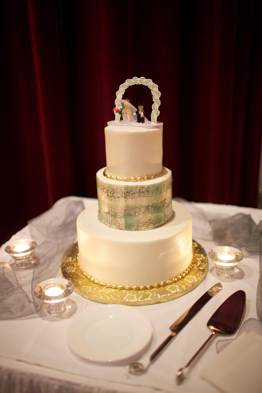 Music Sheet Cake Notes Wedding Lego Topper Gold Silver