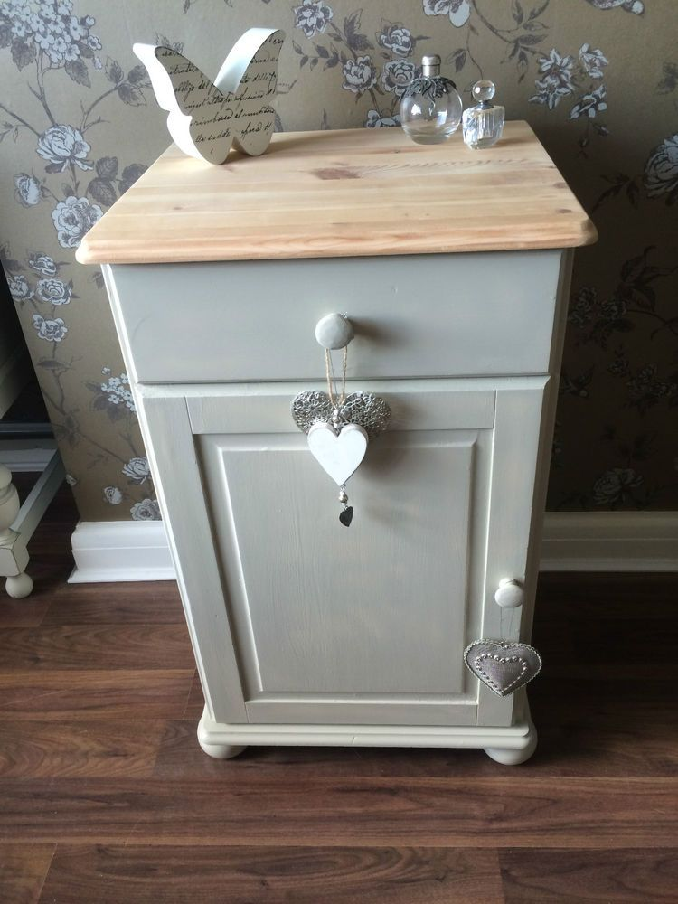 Shabby Chic Bedside Cabinet Side Table And Ball Old White This Is