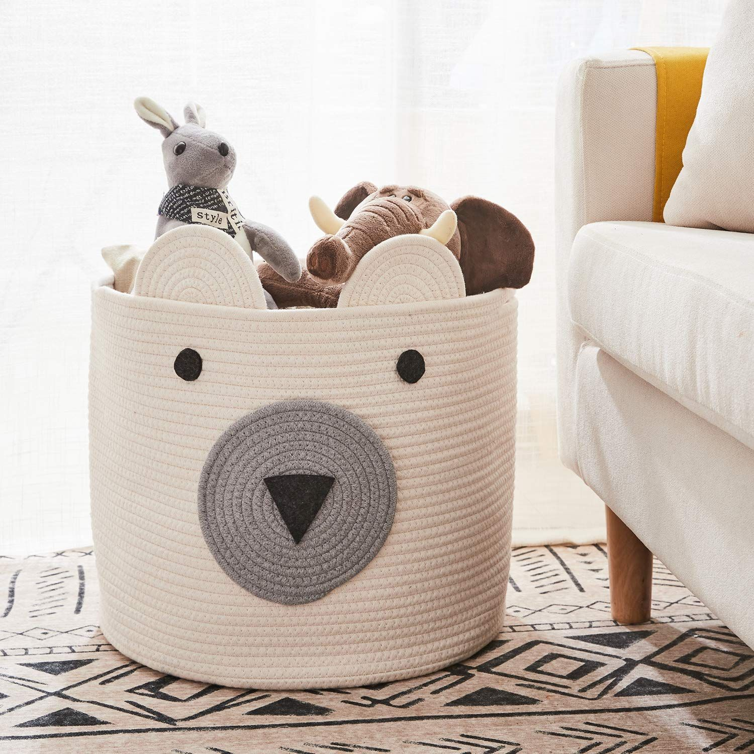 Comemory Cotton Rope Storage Basket With Cute Bear Design Foldable