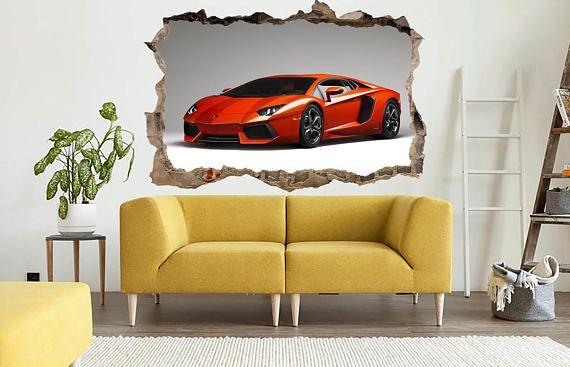 Wall crack decal Red lamborghini Lamborghini print Cars on stiker ...