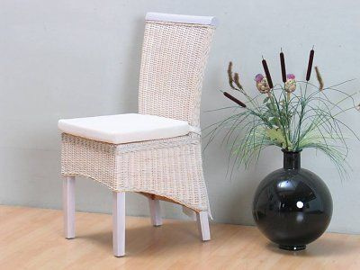 Stoel Rotan Wit : Rotan stoel wit met kussen larissa stoelen rotan