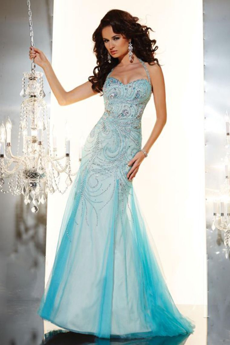 halter mermaid prom dress open back embellished bodice with