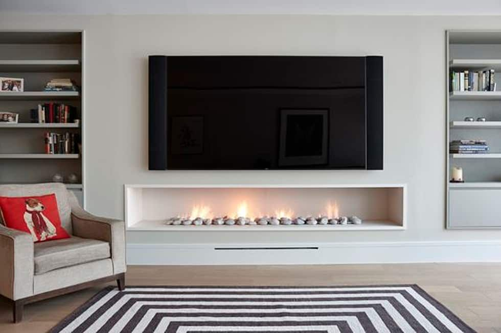 Hole In The Wall Gas Fireplace Contemporary Modern Style Modern Living Room By The Platonic Fireplace Company Modern Limestone Homify Modern Fireplace Decor Fireplace Modern Design Contemporary Fireplace