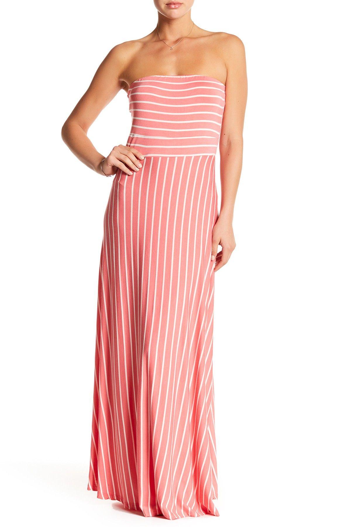 WEST KEI Strapless Stripe Maxi Dress