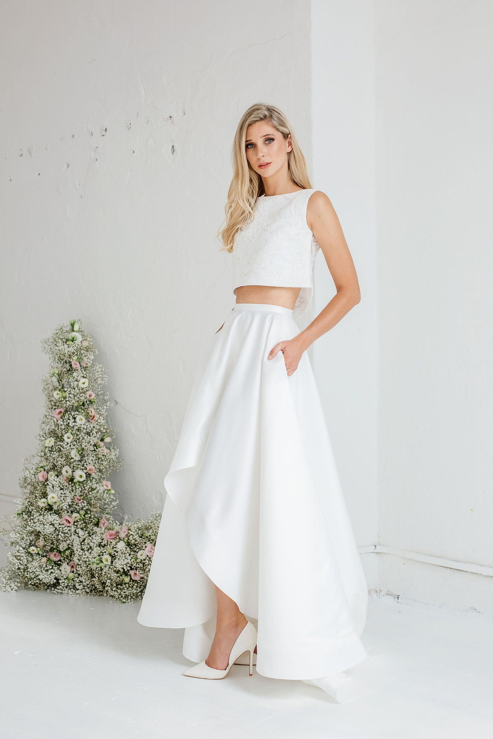 High Low Wedding Skirt Emma Bridal Skirt With Pockets Ivory Satin Skirt With Train In 2020 Wedding Dresses High Low Two Piece Wedding Dress Crop Top Wedding Dress