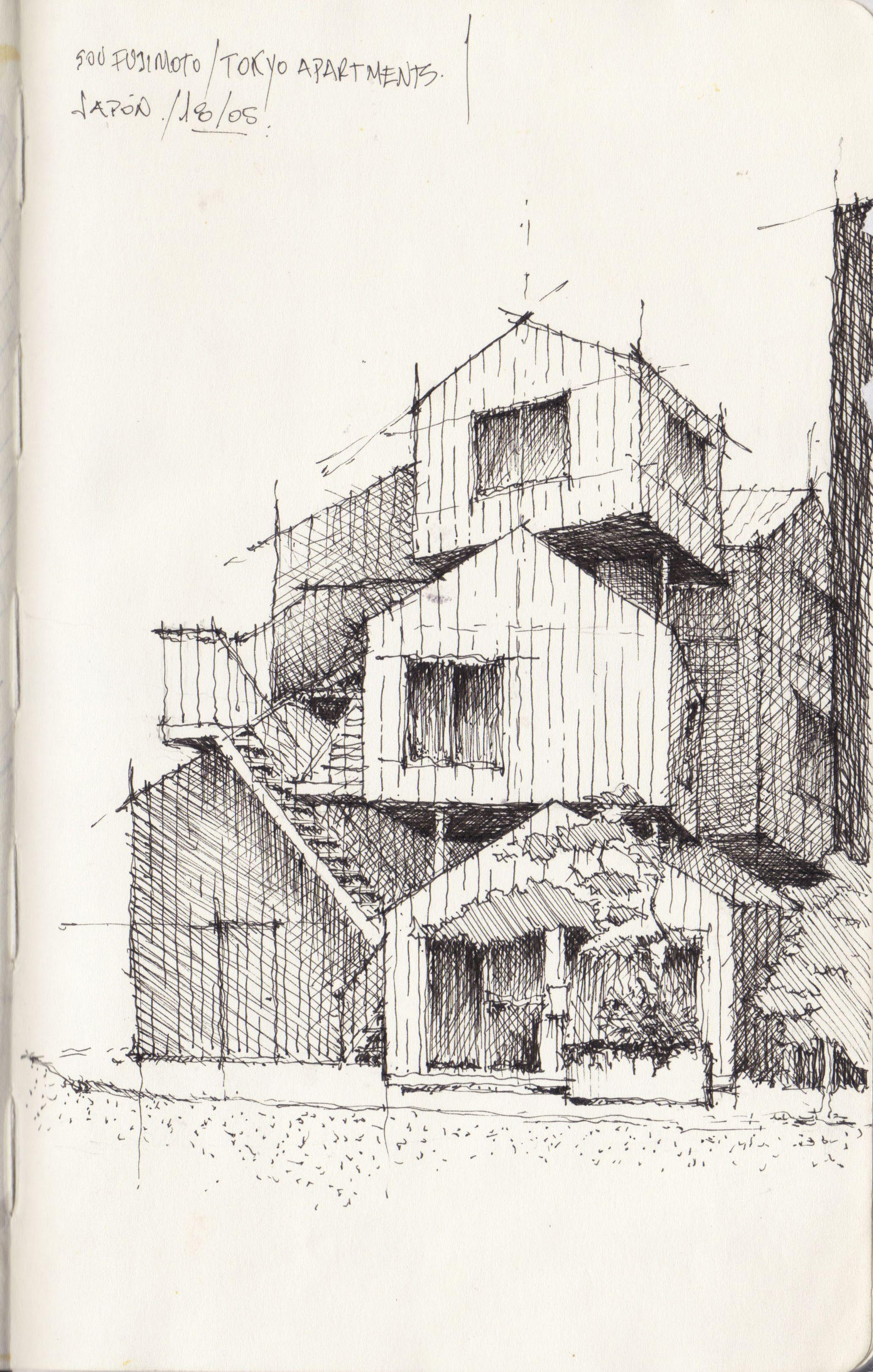 Croquis - Apartamentos de Tokio, Fujimoto - por Facundo Alvarez | Sketching  techniques, Urban sketching, Architecture sketch