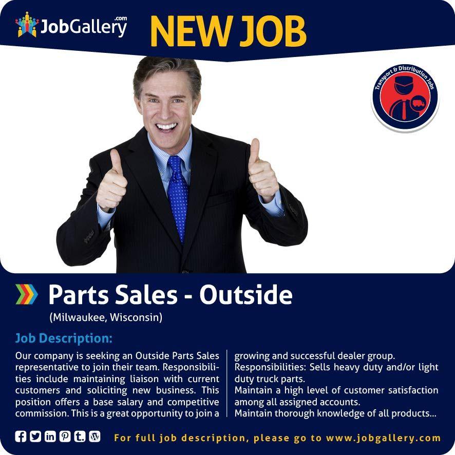SEEKING AN OUTSIDE PARTS SALES REPRESENTATIVE - MILWAUKEE, WI #jobs