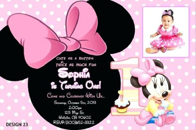 Minnie Mouse First Birthday Invitations Free Invitation Ideas