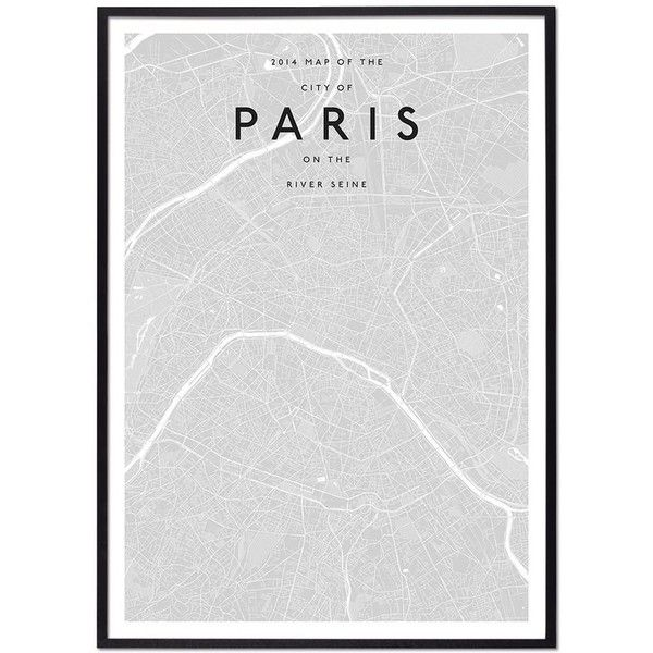 Modern Paris map ❤ liked on Polyvore featuring home, home decor ...