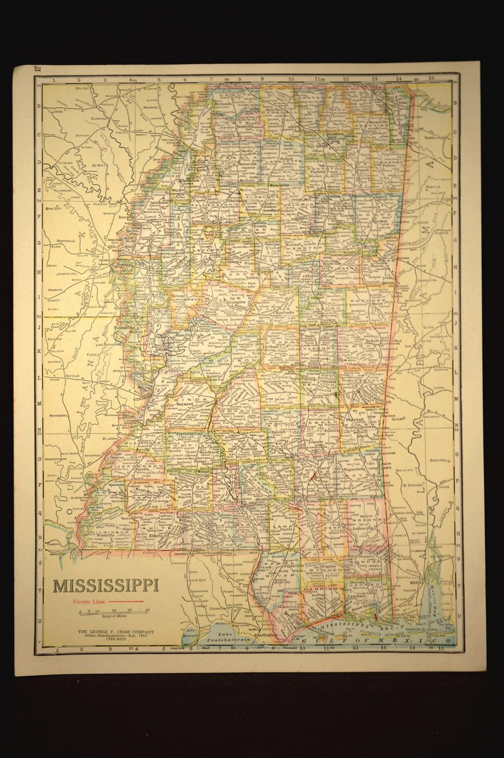 TWO SIDED Antique Road Map Mississippi Map Original Highway Roadway ...