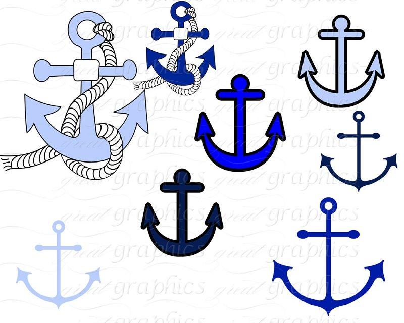 Printable Small Anchor   Nautical Clip Art, Digital Clip ...