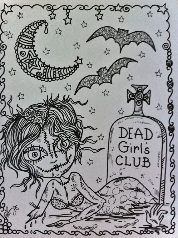 COLORING BOOK ZomBie GiRL Halloween Coloring Book By ChubbyMermaid Zentangle Pages Colouring Adult Detailed Advanced Printable Kleuren Voor