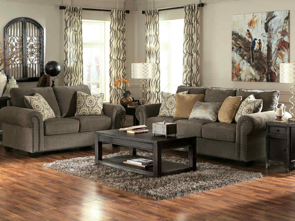 With A Plush Gray Chenille Upholstery Fabric Surrounding The Stylish Rolled Arms And Comfortable Ba Farm House Living Room Living Room Sets Living Room Designs