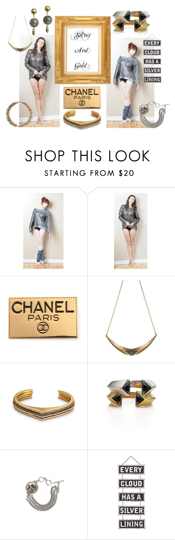 """""""Silver and Gold"""" by stylegirl-ca ❤ liked on Polyvore featuring Pink Martini, Chanel and Bliss Studio"""