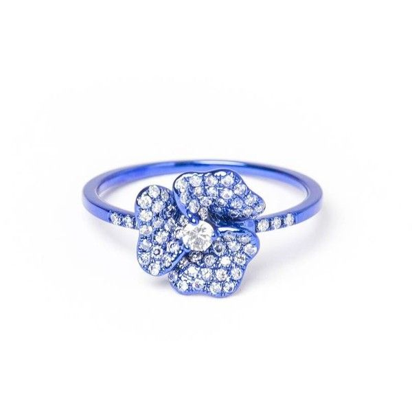 As29 Pave Diamond Flower Ring (2 540 160 LBP) ❤ liked on Polyvore featuring jewelry, rings, flower jewelry, blue jewelry, blue diamond pave ring, stud ring and 18 karat gold jewelry