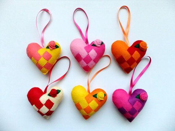 scandanvain felt ornaments | Felt Christmas Scandinavian Love Hearts (Assorted set of 6) Swedish ...