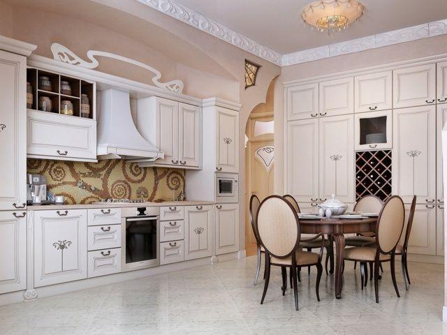 weiße Küche französisch königlicher Stil Mosaik Küchenwand | Küchen ...