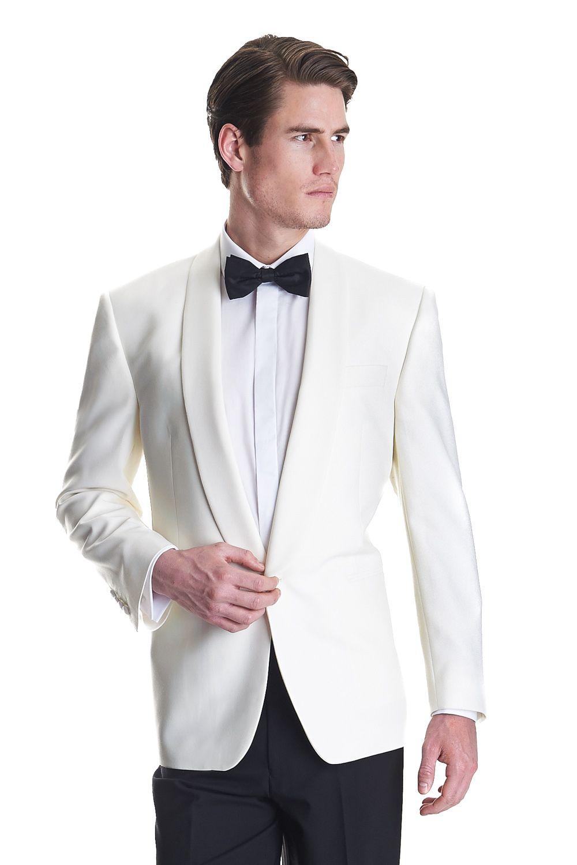This men\'s Moss Bros white shawl collar regular fit dinner jacket is ...