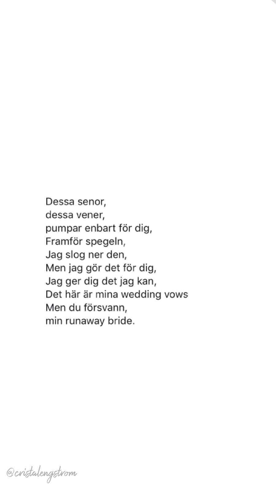 Noel Flike Hov1 Runaway Bride Lyrics Citat Karlek Citat Hjart Citat Instagram Citat