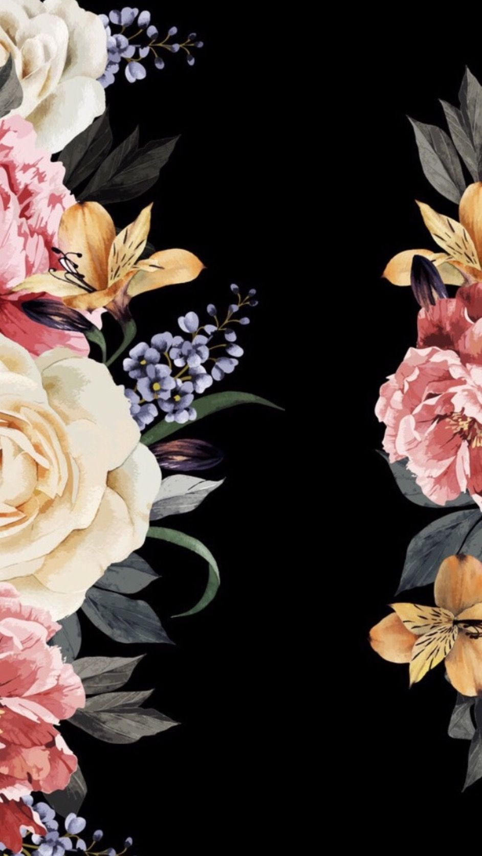 Pin By Vanessa Silva On Black Backgrounds Flower Iphone Wallpaper Black Background Wallpaper Locked Wallpaper