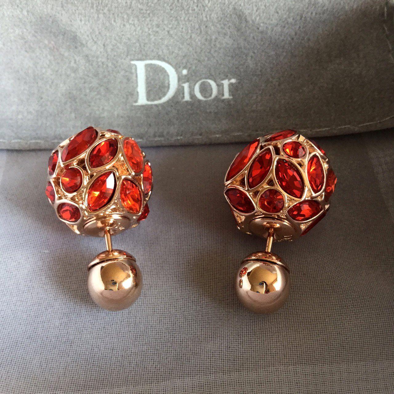 cfcae75c8b37a4 DIOR+TRIBAL+Red+Crystal+Gold+Stud+Earrings+Mise+En+Dior+Tribale+Authentic+ NIB