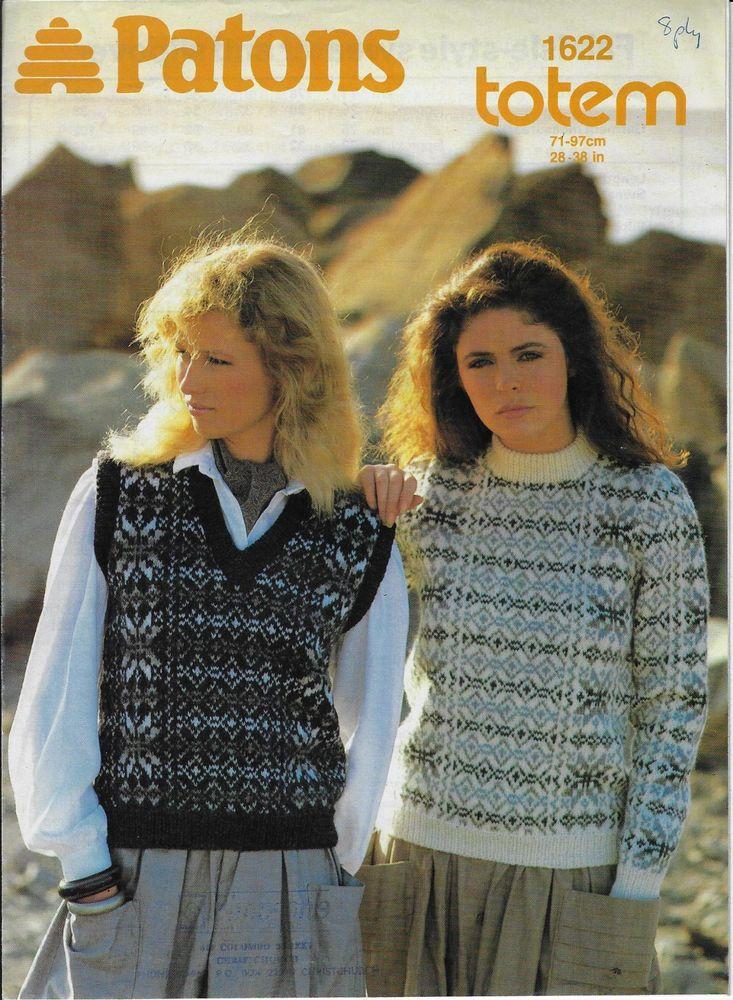 Women Fairisle Sweater Vest Patons 1622 Vintage Knitting Pattern