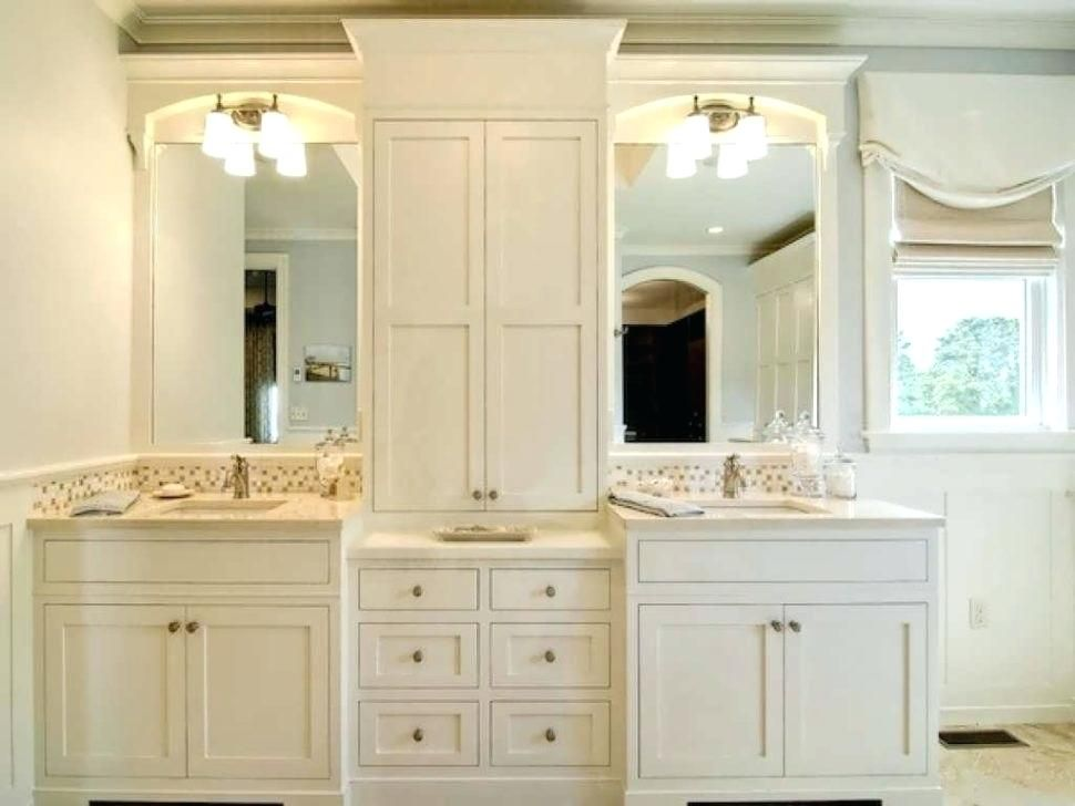 Image Result For Double Vanity With Cabinet In Middle With Images