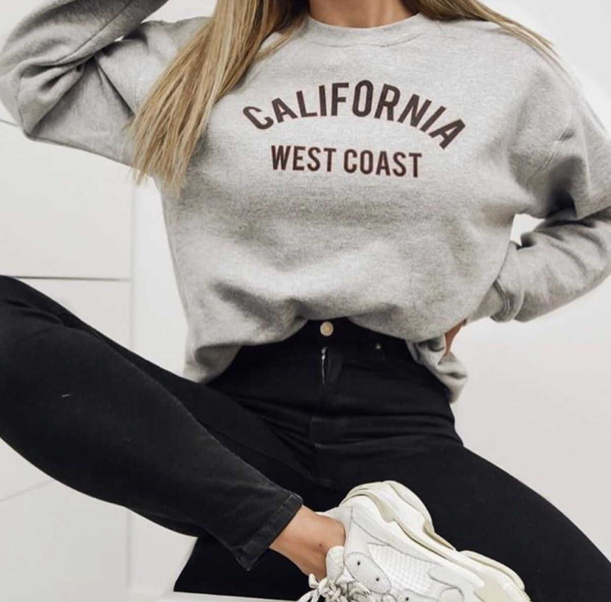 Grey Marl California Slogan Oversized Sweater