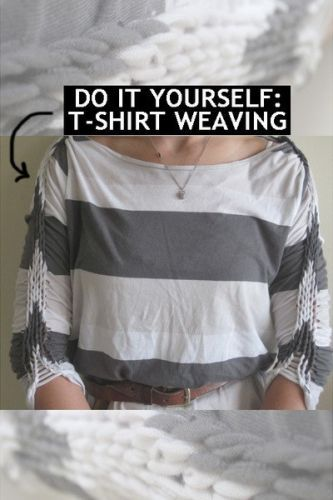 Good ideas for you recycling clothes my fashion inspirations diy tshirt weaving i can just see myself cutting up a cute t shirt trying to do this then just throwing it away in frustration cool idea though solutioingenieria Images