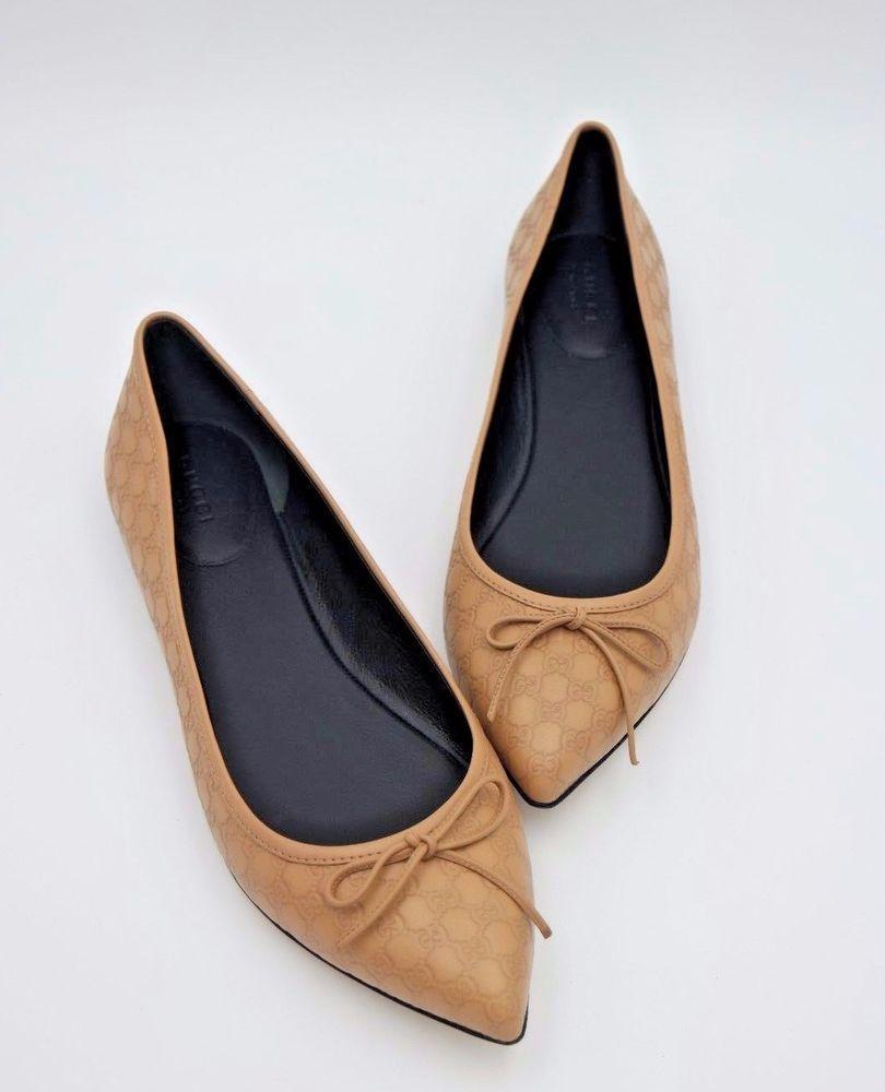 71a5f525a94 NIB Gucci Agatha GG Microguccissima Leather Point Toe Bow Ballet Flats 5 35   Gucci