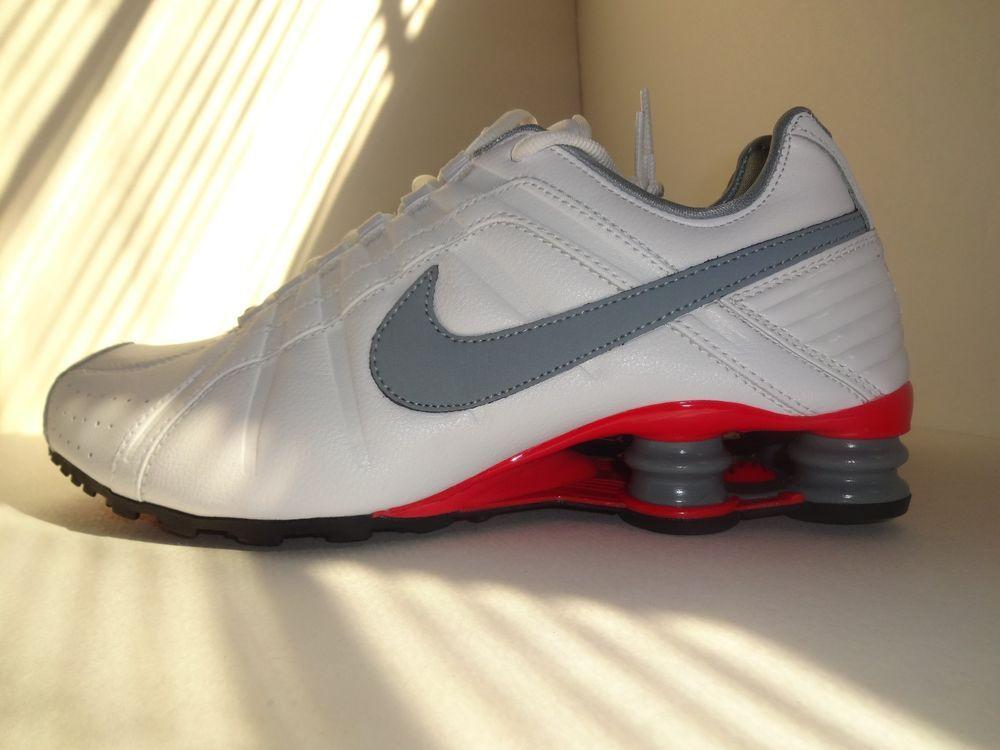 best authentic 42f3a 8e78c Men s Nike Shox Junior Running Shoes Leather Solid White Red Medium (D, M)   Nike  RunningCrossTraining