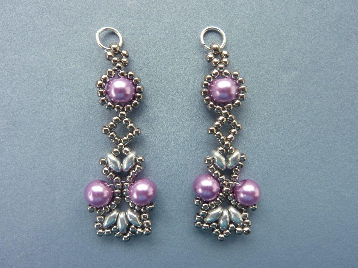Free Beading Pattern For Lotus Lace Earrings Beaddiagrams