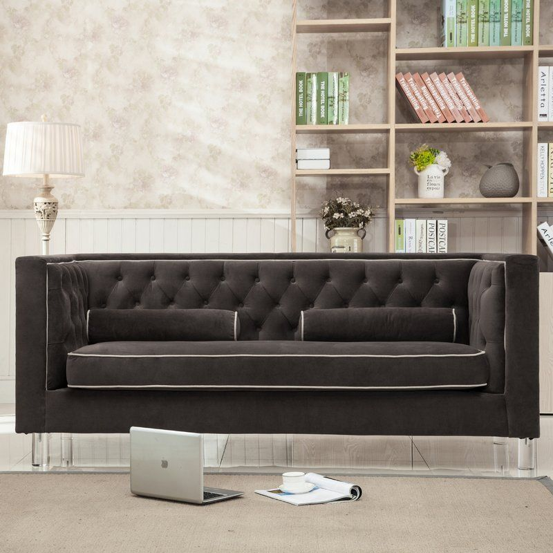 Brayden Studio Kamden Chesterfield Sofa Products Grey Velvet