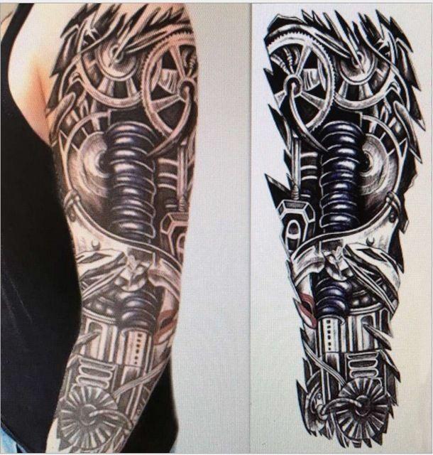 87bba6fc1239e £4.99 GBP - Full Arm Temporary Robot Tattoo Sleeve Stickers Body Art 3D  Tattoo Terminator