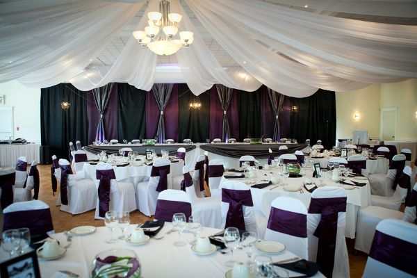 Purple And White Indoor Wedding Reception Purple White Wedding