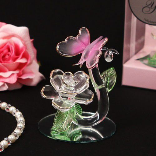 Enchanted Crystal Butterfly Rose Figurine