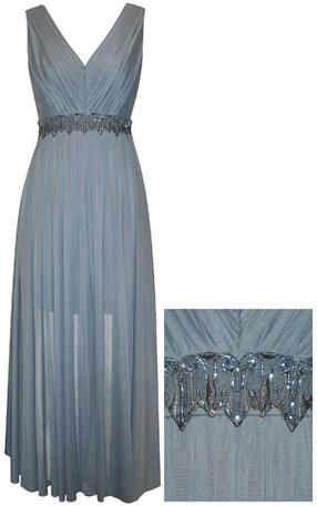This Beautiful Pacific Blue V Neck Mother Of The Bride Dress Has