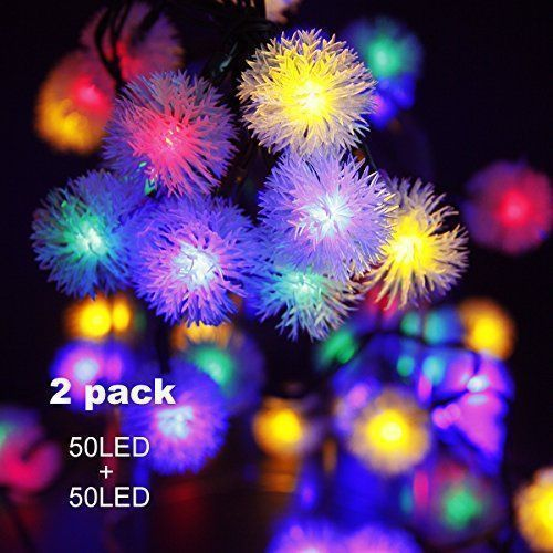 Binval Solar Powered String Lights Chuzzle Ball Fairy Christmas - solar christmas decorations