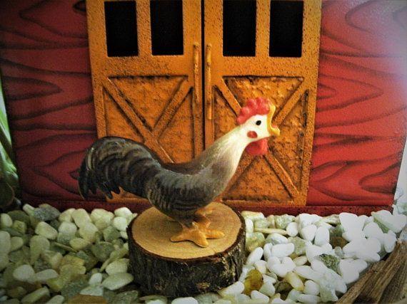 4 x Ceramic Rooster Chicken Hen Animals Farm Figurines Fairy Garden Terrarium