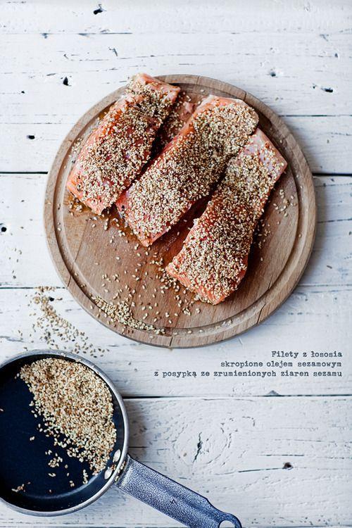 salmon in  sesame seeds