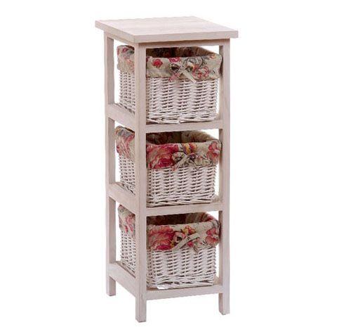 Mueble de madera blanco con 3 cajones de mimbre for Muebles mimbre