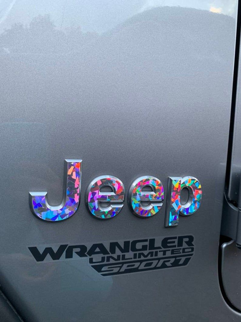 Holographic Crystal – Jeep Wrangler JL 2018 2019 2020 Gem Glitter Decal Fender Emblem Overlay | Sahara, JLU, Unlimited, Rubicon, Gladiator
