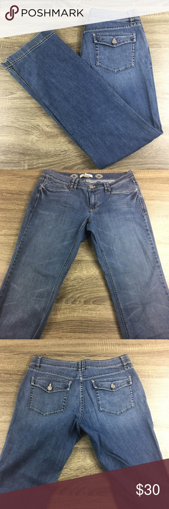 6f42ed8ca8 White House Black Market Jeans Size 8R WHBM Noir Style. Straight leg 8R.  GUC Waist 16 Hips 19 Length 40 1/2 Inseam 31 1/2 Rise 8 Leg opening 16 in  ...