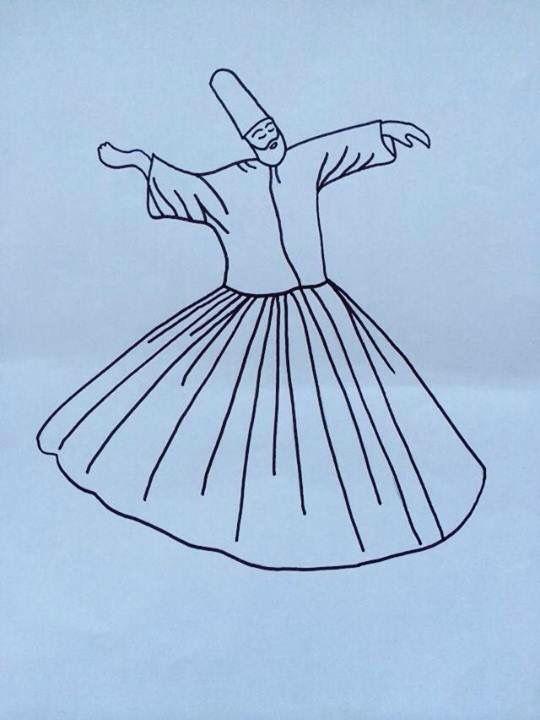 Semazen Boyama Mevlana Haftasi Sufi Whirling Dervish Ve Art