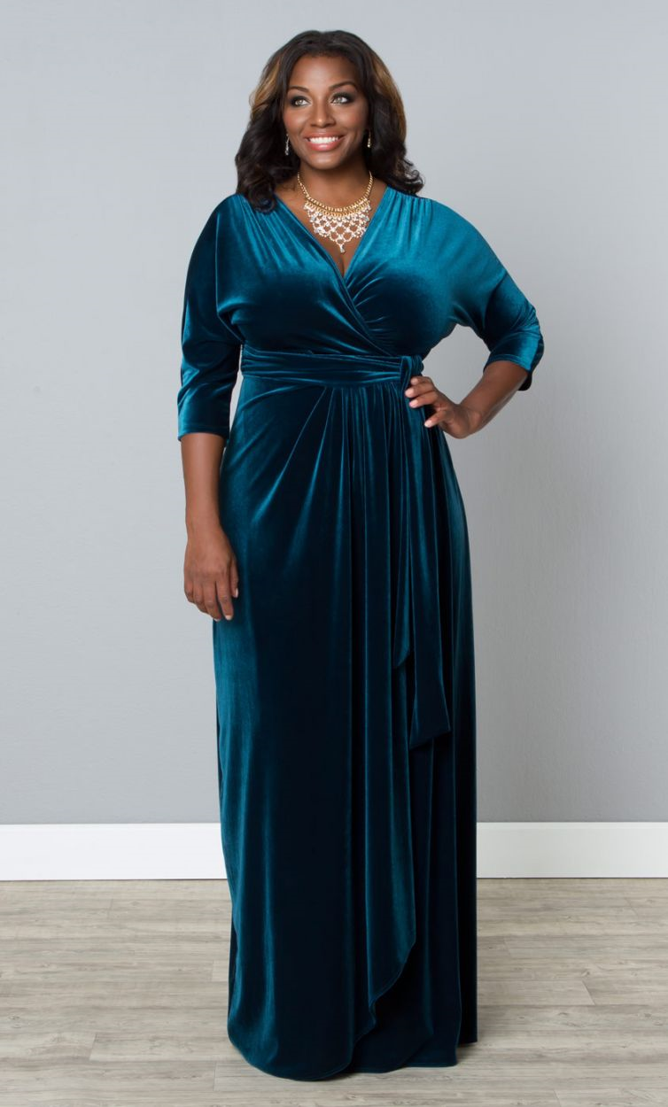 plus size velvet luxe wrap dress - empress teal wrapped in luxury