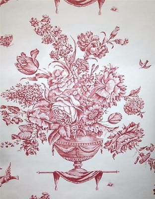 Wallpaper French Designer Pierre Deux Classic Red Floral Urn On White