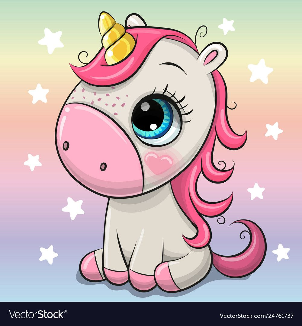 Cute Cartoon Unicorn Isolated On A Rainbow Background Download A