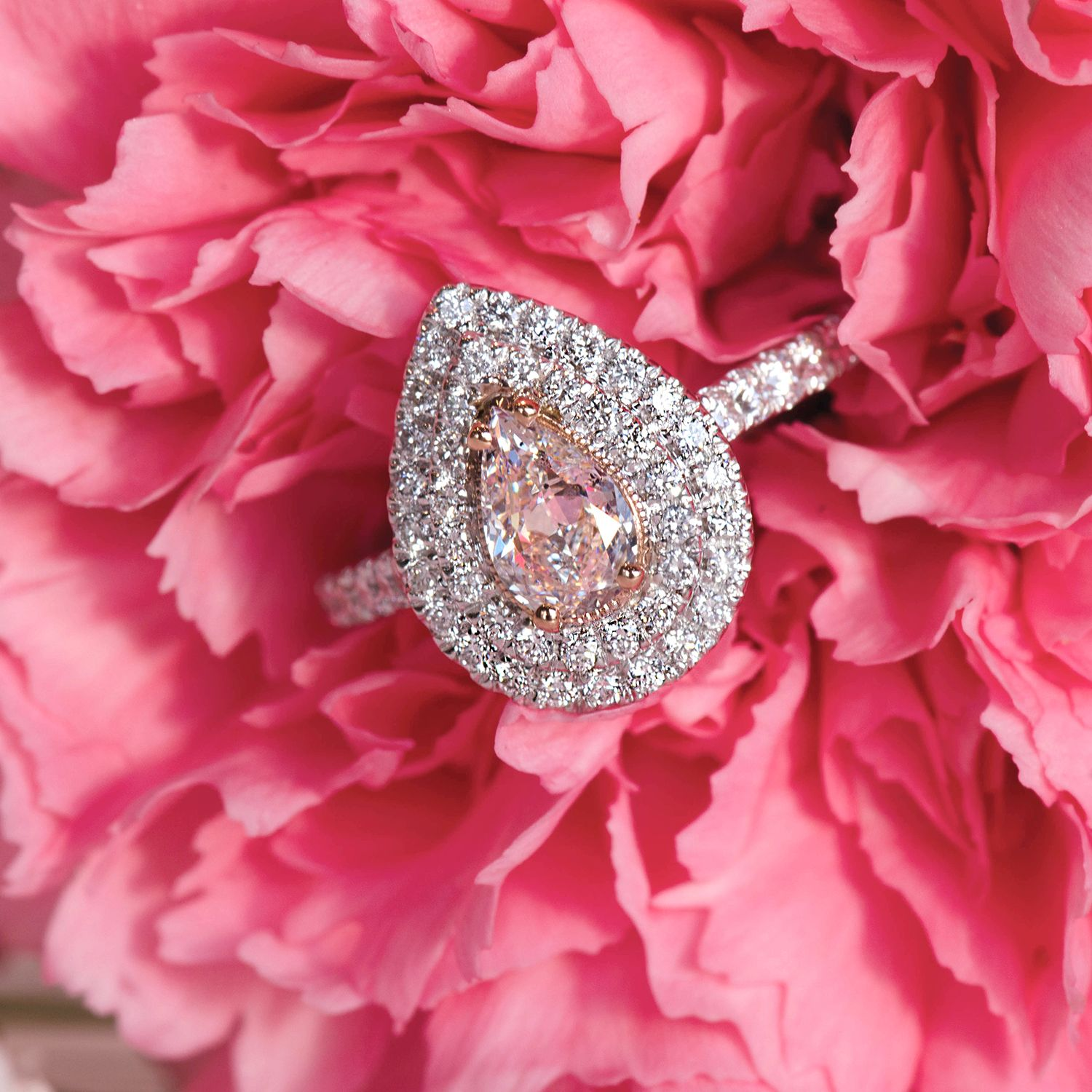 Gorgeous fancy pink pear shaped diamond engagement ring with a ...