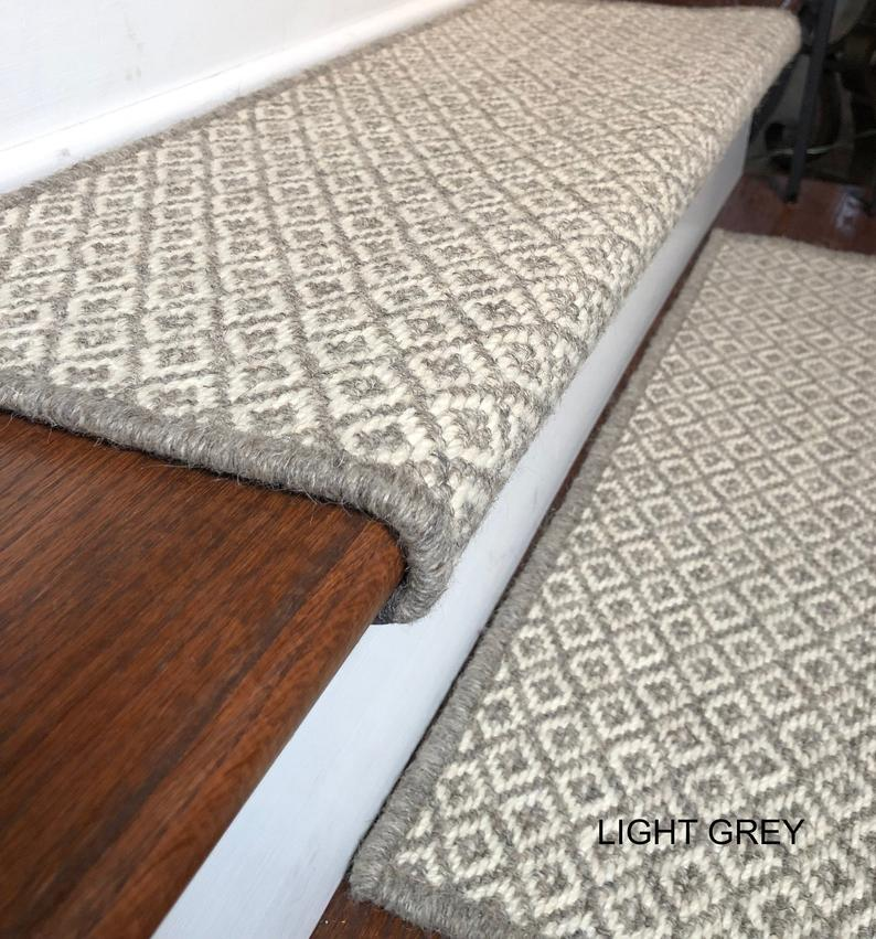 Best Padded Wool Carpet Stair Treads Breckenridge Light Grey 640 x 480