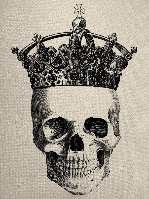 Skull With Crown Engraving Digital Collage By Everythinggraphic